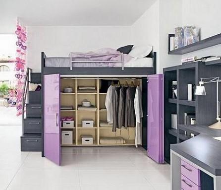 camas altas con armario