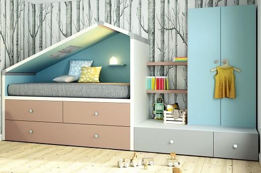 cama compacta con forma especial