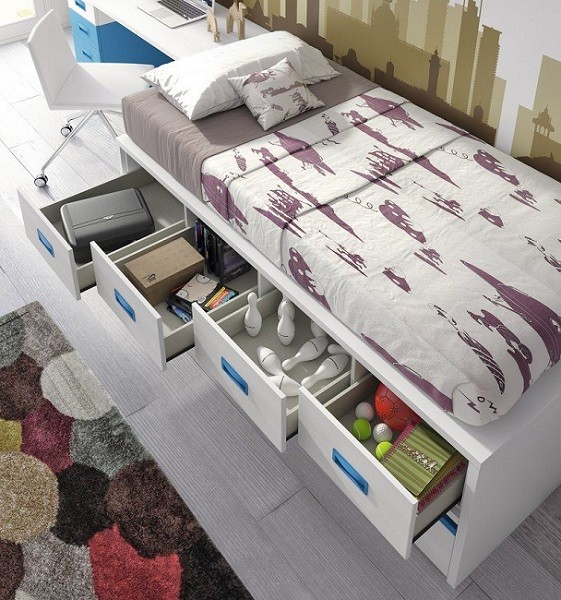 Clasificacion de camas compactas juveniles con cajones - Cama de 90 con cajones ...
