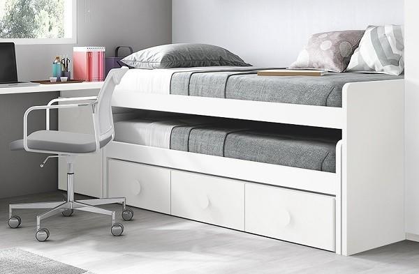 camas compactas dobles con cajones y cama intermedia