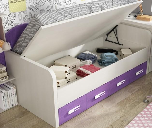 canape incorporado en cama compacta para chicos