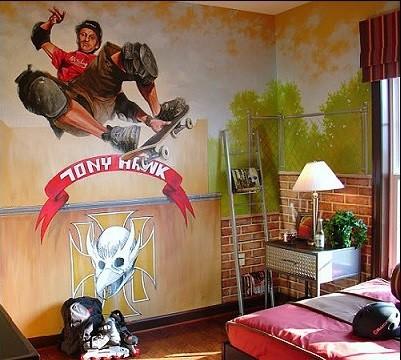 decoracion de habitaciones juveniles con papel pintado