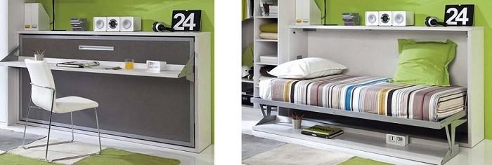 escritorio con cama escondida para cuartos juveniles