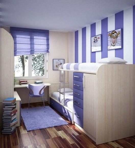 habitacion juvenil de un chico combinando tres colores distintos