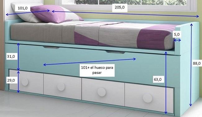 medidas de una cama compacta de tres alturas