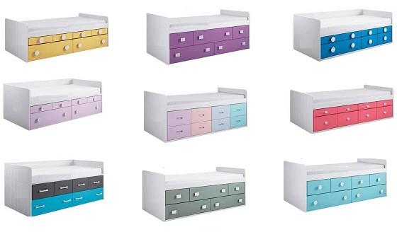 combinacion de cajones y contenedores para camas compactas juveniles
