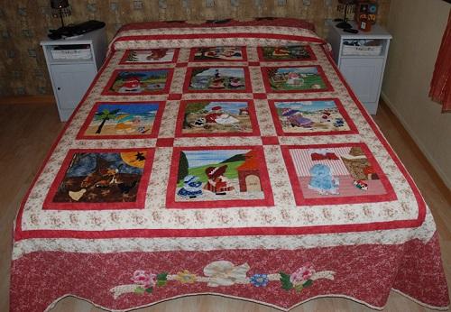 colcha o cubre de cama patchwork para nene