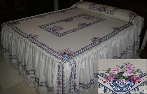 colchas bordadas para cubrir la cama en verano