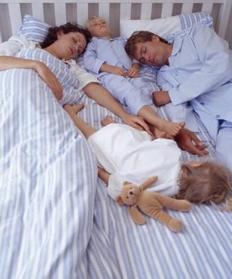 familia numerosa durmiendo en dimensiones de cama ajustada