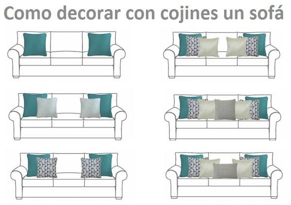 como decorar un sofa con cojines