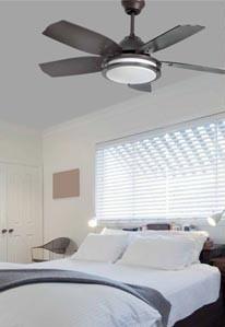decorar el dormitorio con una lampara ventilador