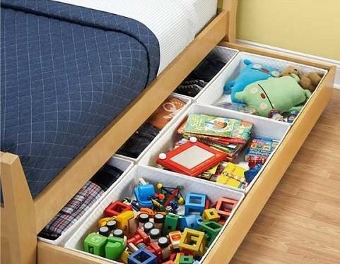 cama con cajonera para almacenar juguetes de niños