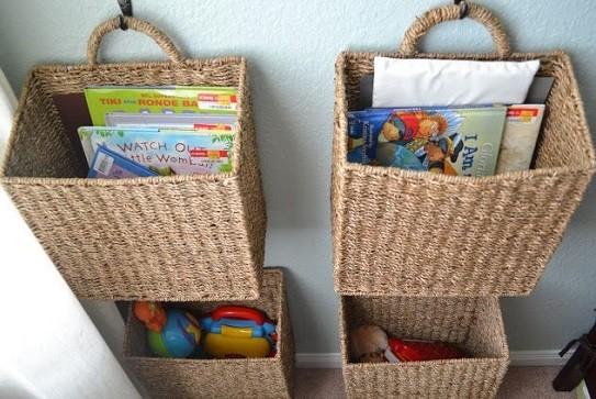 cestas de mimbre para almacenar juguetes