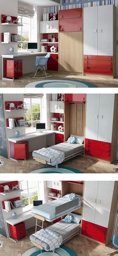 literas reclinables verticales con armarios y escritorio