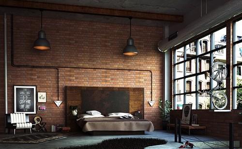 dormitorio grande estilo industrial