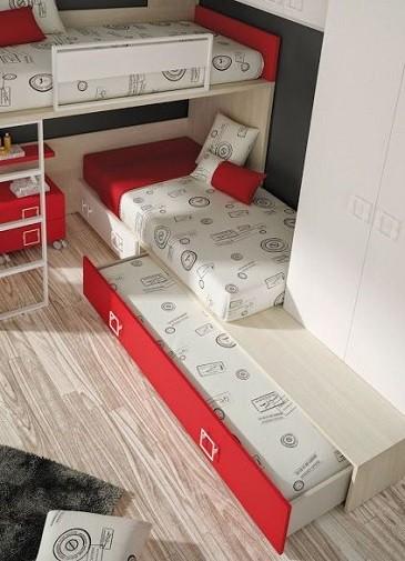 cama tipo tren triple con 3 camas