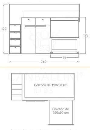 cama tren de 250 cm
