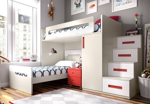 habitacion pequena con dos camas tren cruzadas