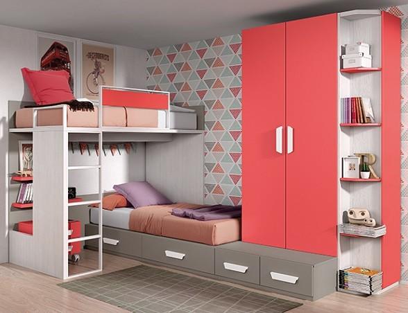 mobiliario cama tipo tren en madera de colores