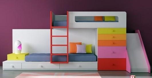 mueble cama tren con dos camas y tobogan