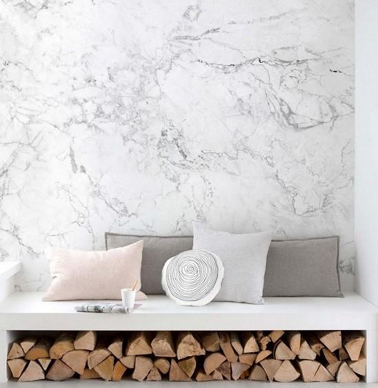 imitacion marmol papel pintado en paredes
