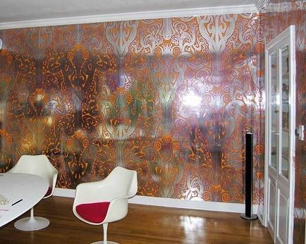 papel pintado de pared efecto metalizado