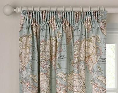 cortina fruncida con pliegues