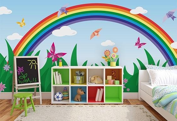 fotomurales con arcoiris para niños