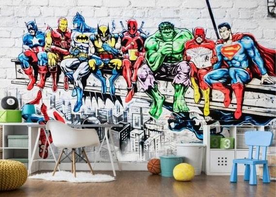 mural adhesivo con superheroes