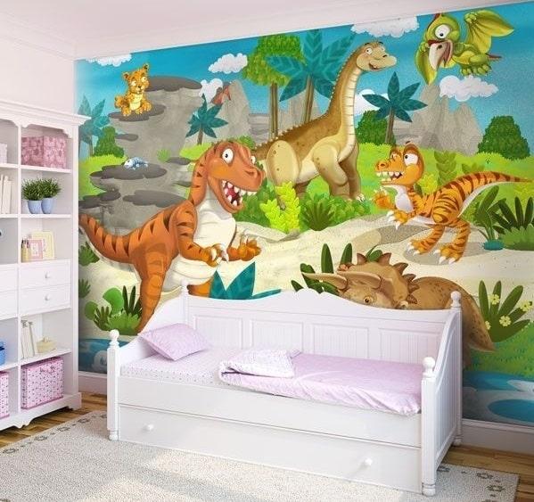 mural para pegar en pared con dinosaurios