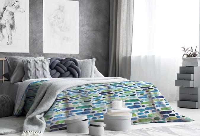 textil para cama adolescentes estilo rayas modernas