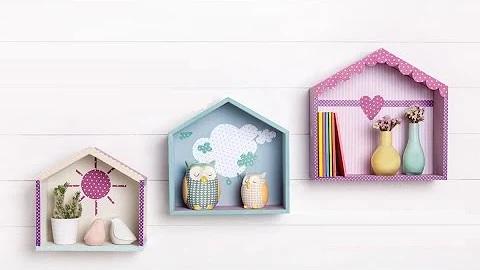manualidad casita de madera para pared dormitorio infantil
